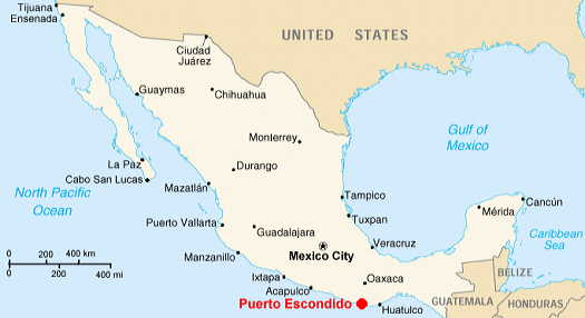 Puerto Escondido Map Oaxaca Mexico Maps - A map of mexico