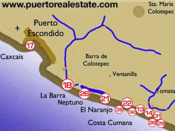 Puerto Escondido map Oaxaca Mexico maps